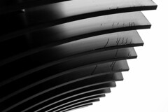 Cooling Fins in the Rain (isdky) Tags: black monochrome metal architecture blackwhite fuji raindrops fujifilm fins x100t