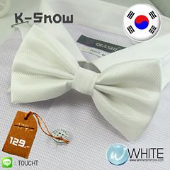 K-Snow - หูกระต่าย สีขาว ผ้าเนื้อลาย สไตล์เกาหลี (BT016) by WhiteMKT