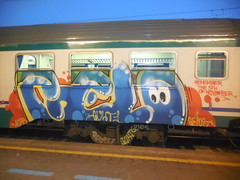 remember the 5th november/ paura, eh ? (cit) (en-ri) Tags: gelo train writing torino graffiti blu giallo crew occhioni arancione occhietti guht