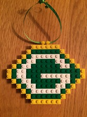Green Bay Packers Logo (BrickGirls.com) Tags: christmas holiday football lego nfl decoration packers ornament greenbaypackers cheesehead gopack