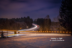Der Schneepflug / The Snow Plow (!!! Painting with Light !!! #schauer) Tags: road street wood eve trip winter light sky panorama cloud holiday snow cold tree nature car night danger speed forest truck germany dark painting way bayern deutschland bavaria spur star noche licht high highway europa long exposure heaven crossing dorf village sylvester with cross traffic strasse urlaub natur roundabout christian kreuz trail stop rush intersection rocket plow dezember holz wald nuit verkehr baum belichtung notte kreuzung passau reise hauzenberg schauer pflug oberdiendorf