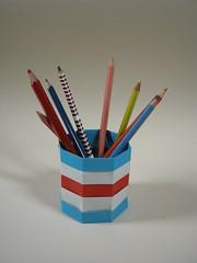 CHARLIE pencil pot (Mélisande*) Tags: origami box charlie mélisande octagon fujimoto internationalmaritimesignalflags