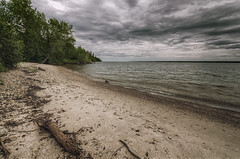 Gull Harbour, Hecla Island, Manitoba (morrismulvey) Tags: beach clouds sand manitoba crossprocessing hdr lakewinnipeg hecla heclaisland gullharbour nikkor1024mm morrismulvey