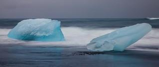 Blue Ice on the Rocks! - Jokulsarlon Beach, Iceland ( View Large! )