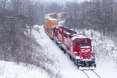 Winter Wonderland (Ryan J Gaynor) Tags: railroad winter snow train hamilton railway trains canadianpacific cp railfan waterdown railroading intermodal hamiltonsubdivision cp142 gp20ceco sonya77ii