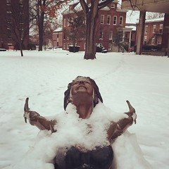 Arms Wide Open (JasonLee) Tags: winter snow cold ice statue square squareformat blizzard universityoflouisville titsout iphoneography instagramapp winter2015