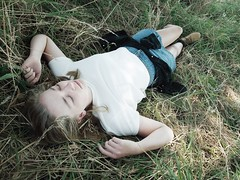 State of Dreaming (e.mmacook) Tags: white green girl grass hair hands boots sleep fingers dream skirt pale denim tall