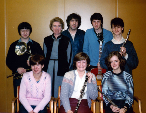 1982 The Pied Piper 01 (from left Robert Woffinden, Rona Burkinshaw, Isobel Bickerstaff, Tony Carr, Dawn Wragg,Robert Copley, Jennifer Parsons, Glyn Hall)