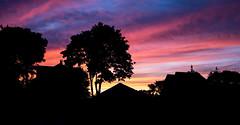 Backyard Sunset (jaredkent) Tags: pink blue sunset sky orange tree home nature beautiful beauty silhouette night canon lens landscape island amazing backyard purple candy rhodeisland cotton kit rhode unbelievable pawtucket