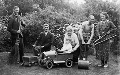 VINTAGE PEDAL CAR . GOOD COMPOSITION . (JOHN MORGAN .) Tags: bw white black vintage found photo photographer child photos and pedalcars