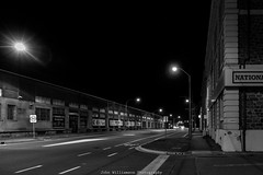 St Vincent Street Port Adelaide (johnwilliamson4) Tags: adelaide monochrome night southaustralia stvincentstreet woolstores portadelaide australia