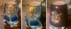 WIP - Sun Plant Pot 003 (Sensation Art Gallery) Tags: mosaic sun plantpot wip workinprogress artwork art goldglittertiles silvermirrortiles mosaictiles bluetiles pot symmetry symmetrical circular