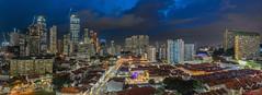 Chinatown Blues (Jansen Chua) Tags: panorama skyline singapore southeastasia chinatown cityscape skyscrapers cbd lighttrails bluehour hdb shophouses centralbusinessdistrict ura tallbuildings housingdevelopmentboard urbanredevelopmentauthority singaporetourismboard buddhatoothrelictemple duxtonpinnacle jansenchuaphotography