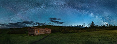 Portrait of a Night Photographer (Flint Roads) Tags: abandoned blue bluesky cabin decay deteriorate field green grosventrevalley milkyway path ruin shadow shanecabin stars trees usa workshop wy wyoming