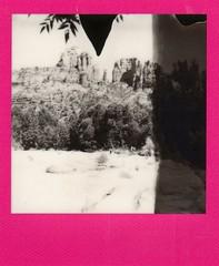 Cathedral Rock- Colorframe BW (EllenJo) Tags: blackandwhite bw polaroid sx70 sedona cathedralrock oakcreek sedonaarizona buddhabeach summerinarizona colorframe impossibleproject theimpossibleproject
