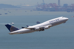 N197UA United Airlines 747-400 (ColinParker777) Tags: united airlines ua ual untied 747400 744 747422 jumbo jumbojet boeing widebody 47 74 departure depart takeoff hong kong hkg vhhh chek lap kok szx shenzhen airport terminal cranes containers sea ship pearl river delta plane aircraft aviation aeroplane airplane fly flying flight aviate engines pw pratt whitnet winglets boat waves canon 7d 7d2 7dmk2 7dmkii 200400 zoom lens telephoto