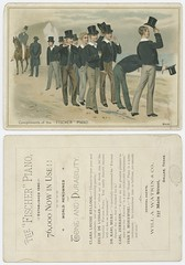 Compliments of the 'Fischer Piano' (SMU Central University Libraries) Tags: tradecards advertisements advertising piano musictrade men
