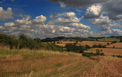 East Leicestershire (growlerbrown) Tags: leicestershire landscape hillfort iron age bluesky clouds sun crops track sigma canon