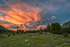 Fire in the Sky (Kirk Lougheed) Tags: california sunset sky usa cloud unitedstates meadow alpine yosemite yosemitenationalpark sierras sierranevada tiogapass danameadows
