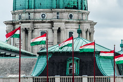Flags on the Castle (mikebakker2) Tags: budapest   magyarorszg hungary ungarn hongrie ungheria hungra   europe europa  e city downtown architecture landmarks historic history world landmark budavar castle flag flags green turqois outdoors detail details closeup building buildings dome day baroque style travel traveling traveler