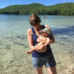 first trip to Long Pond (elizajanecurtis) Tags: eliza happy hattie lake longpond mainesummer summer swimming