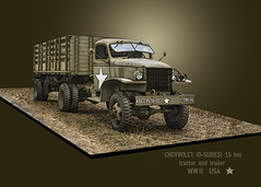 Chevrolet (G-Series) 1.5 ton tractor and trailer ((The) Appleman) Tags: army military wwii worldwar2 vehicle truck tractor trailer slabside softskinned theappleman