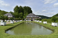 Pice d'eau entre les orangers (Flikkersteph -4,000,000 views ,thank you!) Tags: springtime garden waterpool fountain tranquillity landscape nature footpaths reflecting wonderful hills slopes cloudy shadow trees foliage castle hastire wallonia belgium