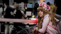 A penny for your thoughts (Kakeart) Tags: hyper japan kawaii girl pink bow cute eyes roses headband wig hair fluffy london olympia festival 2016 nikon 5500