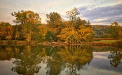 Colorful Reflections on Catherine Creek (LJS74) Tags: fallcolors autumn reflections sunset clouds nature catherinecreek calmwater watkinsglen landscape newyorkstate fingerlakes