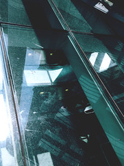 160/366 (abnormalbeauty.) Tags: glass reflections green lights station stpancras people stairs automatic abstract