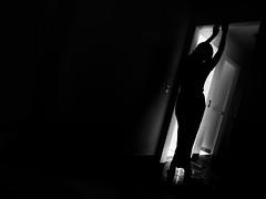 Down the rabbit hole (Julie De Abreu) Tags: black white photoart monoart monochromatic sillouette selfportrait light darkness