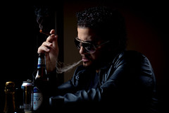 Choices (Photography by XO) Tags: bar beer curls curlyhair smoke soda can sodacan shades beard blowing blowingsmoke hand rugged lowkey nikond7200 50mm me depressed deepinthought leather blackleather leatherjacket smoking photographer photoshop photoshoot pose latino man dude black blackhair worrylines lowlight fingers handsome blue retouch