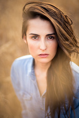 Summer Beauty (pu1se) Tags: headshots outdoor ralphlauren straw trisanne beautiful beauty summer photoshoot goldenhour eyes brunette blue