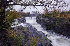 Thunderous Hog's Back Falls (beyondhue) Tags: fall autumn rideau river hogs back tree rock beyondhue ottawa ontario canada color fast flow