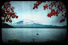 Framing the fuji (Vin on the move) Tags: autumn lake water leaves japan clouds boat fuji ps layers ttvf