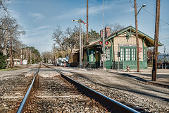 La Grange Texas Railroad Depot (John Bielick) Tags: railroad travel copyright train texas tracks places credit trainstation transportation commuter commuting lonestar lagrange copyrighted 2014 lonestarstate railroaddepot signallight railline johnbielick photogtrekker