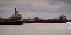 Passing lakers (rexp2) Tags: boat ship greatlakes detroitriver laker freighter sonyalpha7rilce7ra7r