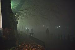 Silhouettes (PattyK.) Tags: nightphotography winter mist fog night december silhouettes greece griechenland whereilive mycity  ioannina giannina giannena bythelake