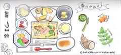 2015_03_18_tsuruya_01_s (blue_belta) Tags: japan sushi lunch spring  osaka bento japanesefood bentou  coloredpencil   washoku   takenoko  tempra warabimochi   zenmai wasyoku kinome