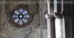 St Davids Cathedral window int (itsabreeze) Tags: uk window wales pembroke interior stainedglass pillars stdavids stdavidscathedral stonepillars