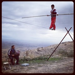 Child tightrope walker (Lil [Kristen Elsby]) Tags: topf25 topv2222 square squareformat armenia editorial acrobat tightrope hudson easterneurope iphone tightropewalker garni tightropewalking iphoneography instagram instagramapp childacrobat