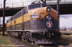 Great Northern E7A 512 on the Hill Track at Superior, Wisconsin 1966 (Twin Ports Rail History) Tags: street history jeff by wisconsin burlington diesel time great machine twin superior rail viaduct locomotive northern ports roundhouse emd belknap lemke e7a