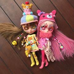 The two @caramelaw customs! #rilakkuma and princess #bubblegum #pink #blythecustom #customblythe #blythe #blythedoll