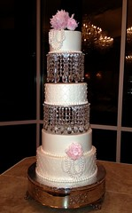 Rachel (Sweet Expressions Cakes) Tags: crystals pearls peonies diamondpattern chandeliercake
