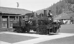 Retired Pacific Lumber Company Locomotive #9 in Scotia, CA - 1950's (bcgreeneiv) Tags: california blackandwhite bw film vintage pacific company locomotive scotia lumber