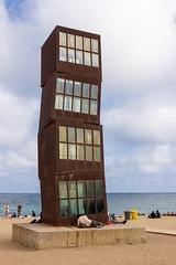 L'Estel Ferit (NykO18) Tags: ocean barcelona sea people sculpture españa art beach water statue landscape person coast spain europe catalonia shore manmade catalunya cataluña mediterraneansea labarceloneta naturalelement