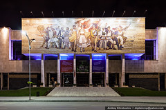 National Museum (digitalcrop) Tags: city building art history tourism museum architecture night facade square evening october mosaic muslim capital oct arts picture culture 9 center communist communism national empire historical ottoman independence albanian albania revolutionary figures adriatic islamic balkan tirana partisans depiction depicting albanians illyrian