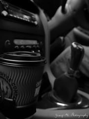 coffee and cruisng (BeardedHall) Tags: white black cars coffee monochrome lumix g6