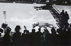 Flying scene from Ghidorah, the Three Headed Monster (1964) (Tom Simpson) Tags: film set crane godzilla 1960s behindthescenes kaiju 1964 gojira kingghidorah ghidorahthethreeheadedmonster