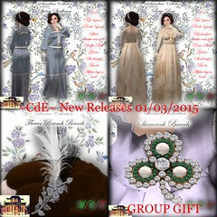 ~Chateau d'Esprit~ March New Releases+Free Group Gift (Sofia von Essen) Tags: life new flower st march store outfit day branch dress 1st release brooch ad full sl second historical patricks chateau titanic shamrock edwardian davids desprit 2015 cde
